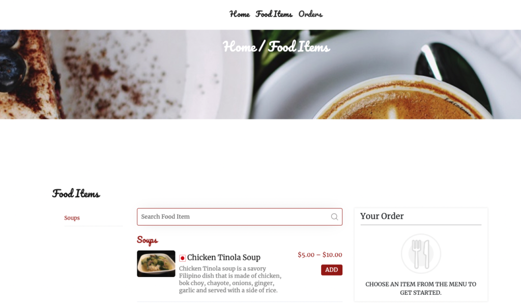 example of food item added and shown in website front end