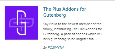 Plugin install image for Plus Addons for Gutenberg