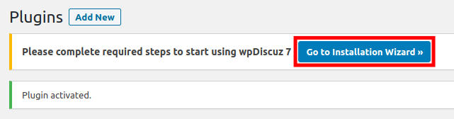 Start wpDiscuz Installation Wizard