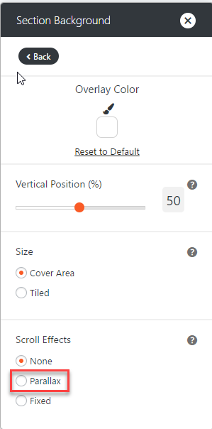 Select Parallax Option