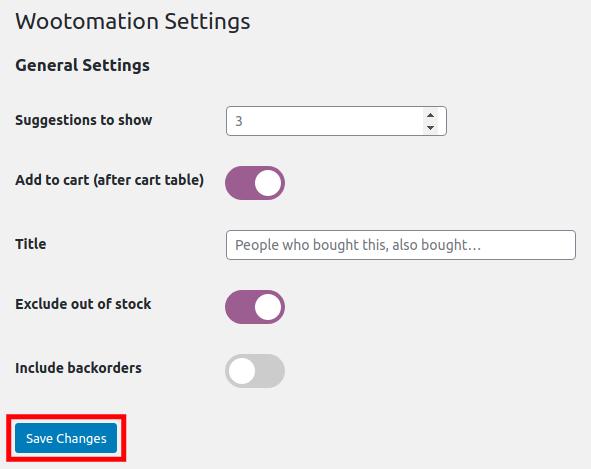 Save your WooCommerce AI plugin settings