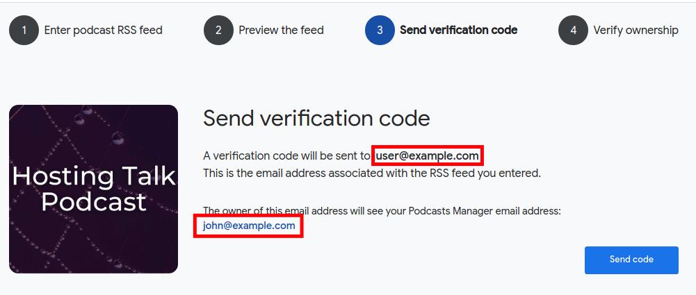 Sending Google Podcasts Manager Verification Code