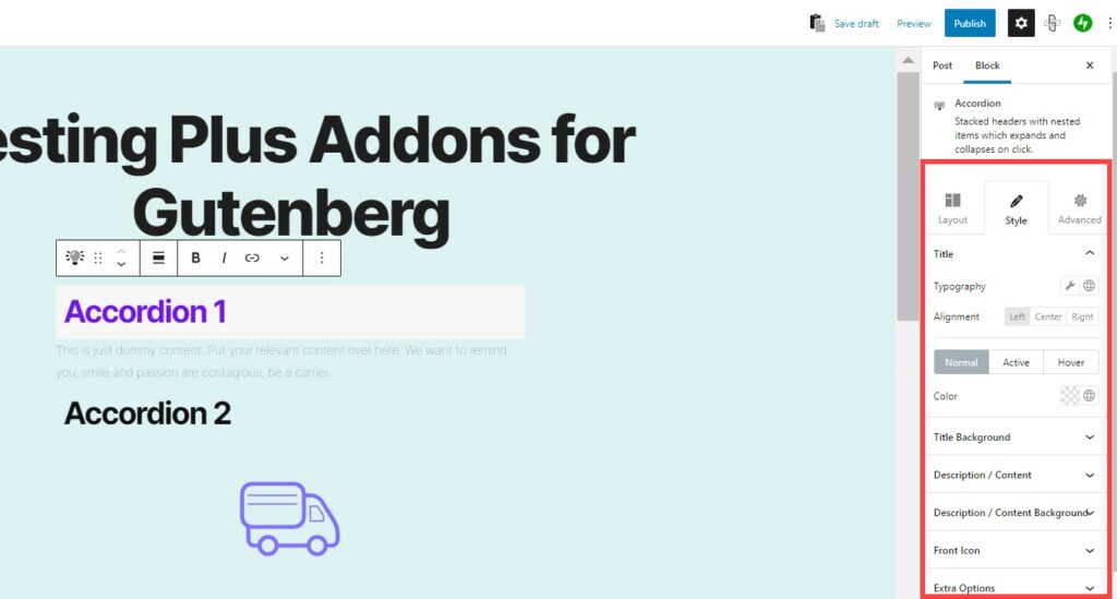 Style tab  when editing the accordion in the Plus Addons for Gutenberg plugin