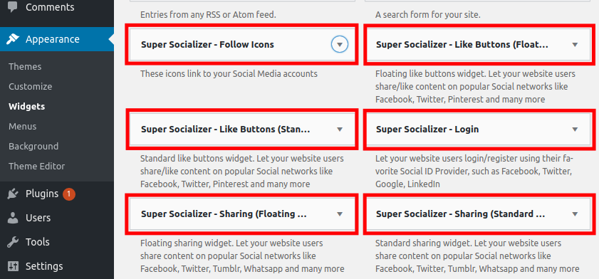 Choose Super Socializer Widget