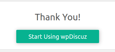 wpDiscuz Installation Wizard Complete