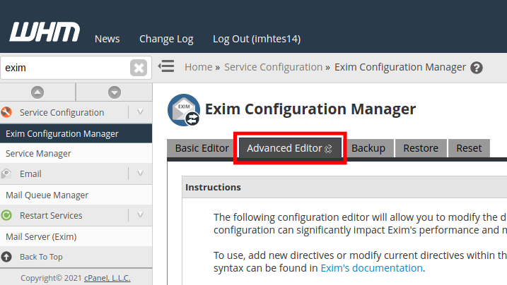 Advanced Exim Editor