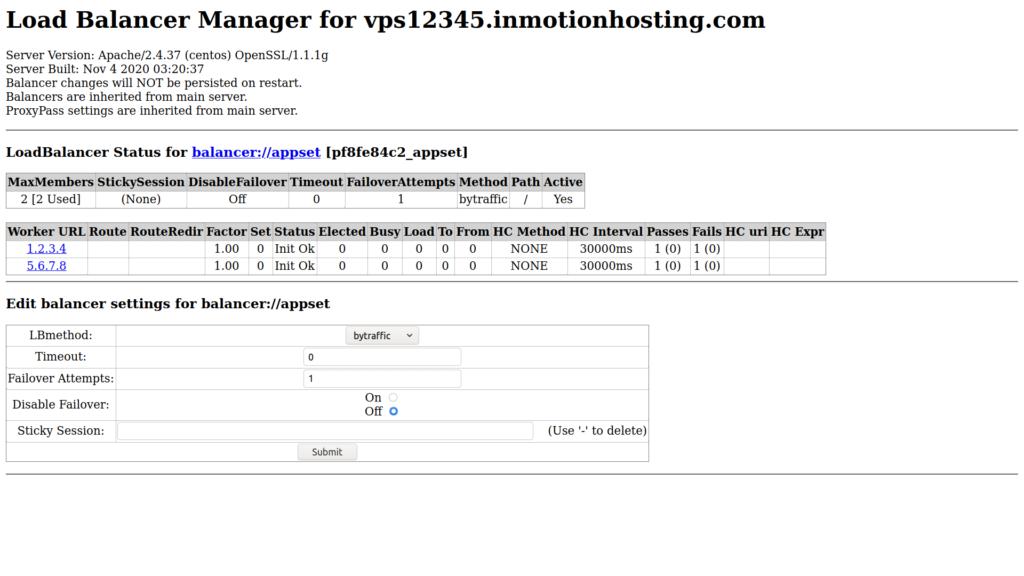 Edit Apache Load Balancer settings