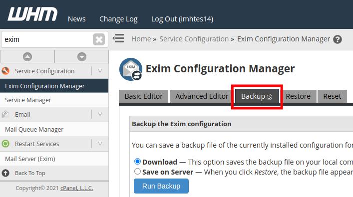 Exim Mailserver Backup