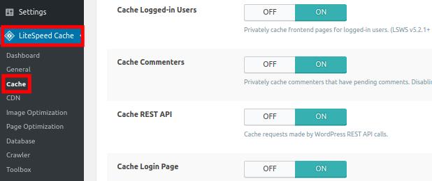 LiteSpeed Cache Settings