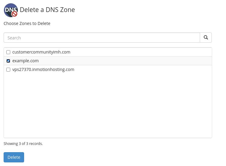 Delete a DNS zone in WHM