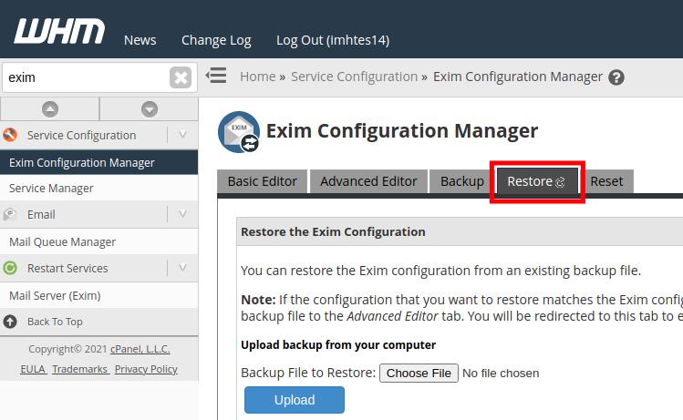 Restore Exim Mailserver Settings