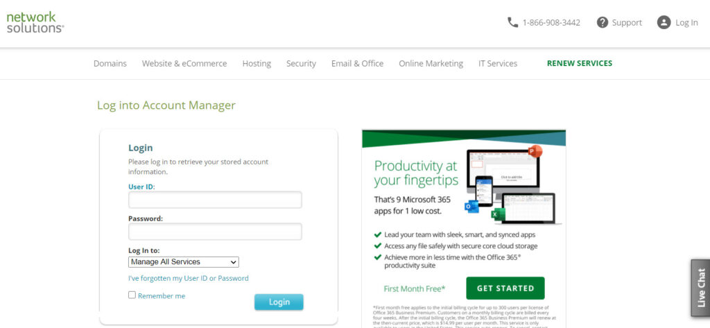 Network Solutions  login screen