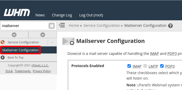Mailserver Configuration in WHM