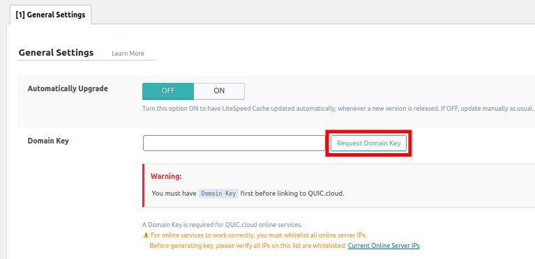 Requesting a Domain Key