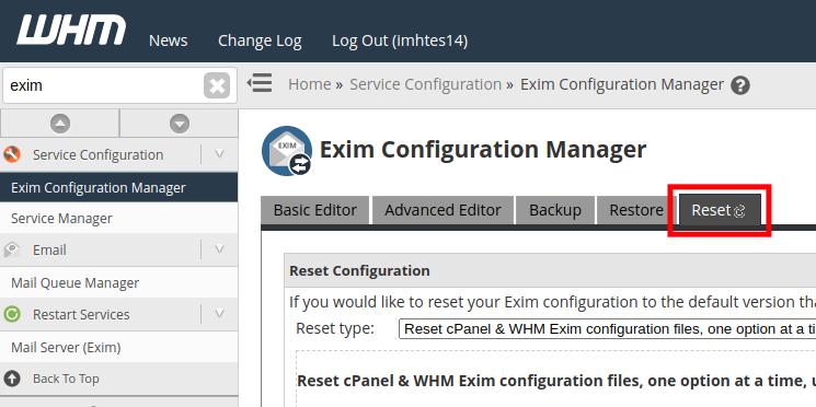 Resetting Exim Mailserver Settings