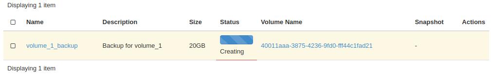 volume backup in progress