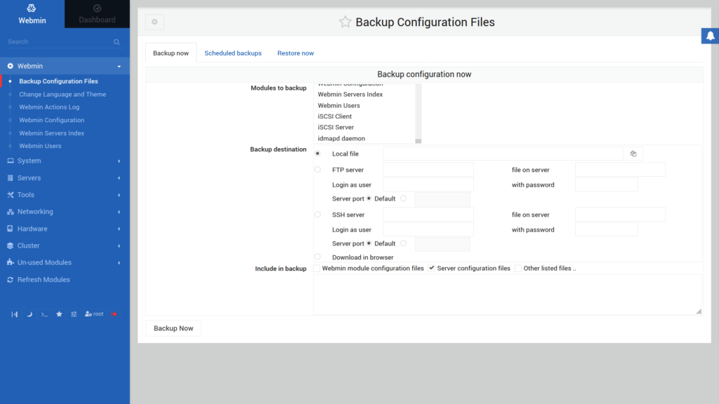 Configuring Webmin backups for configuration files