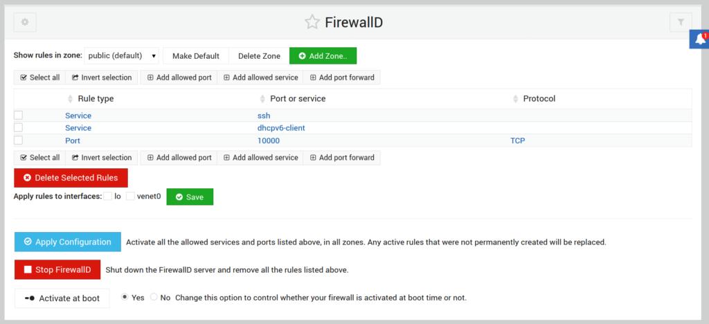 FirewallD Webmin module options