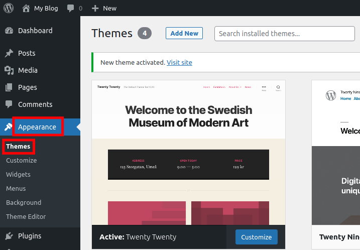 How to change a WordPress Theme Appearance