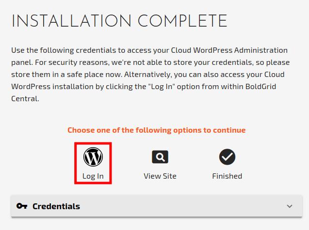 Create a WordPress Staging Site - Login