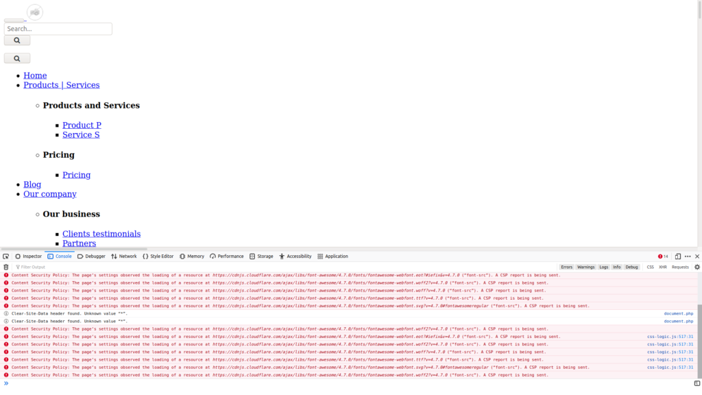 Dolibarr website preview with Content Security Policy errors in browser console