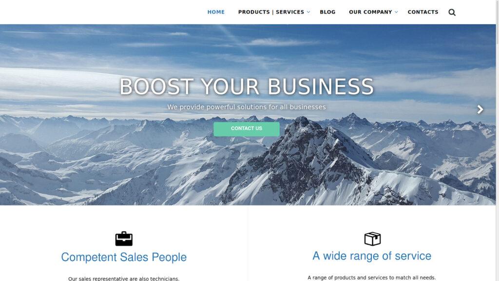 Public Corporate Website Example in Dolibarr ERP Software