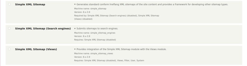 Simple XML Sitemap modules