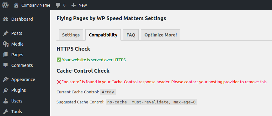Cache Control Check for WordPress Flying Pages