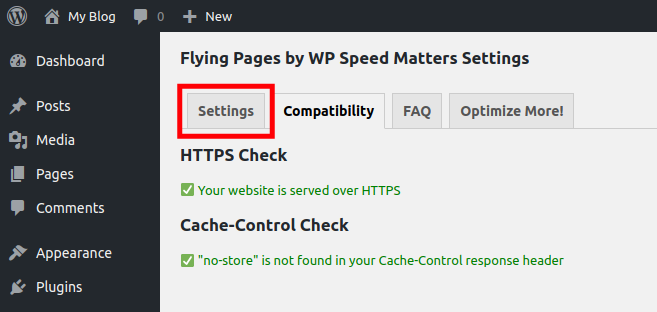 Access the Settings Tab for Flying Pages WordPress Plugin