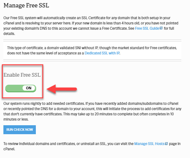 switch to activate free AutoSSL within AMP