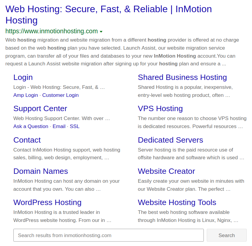 InMotion Hosting sitemap in Google search