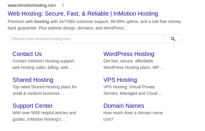 InMotion Hosting sitemap in Bing search