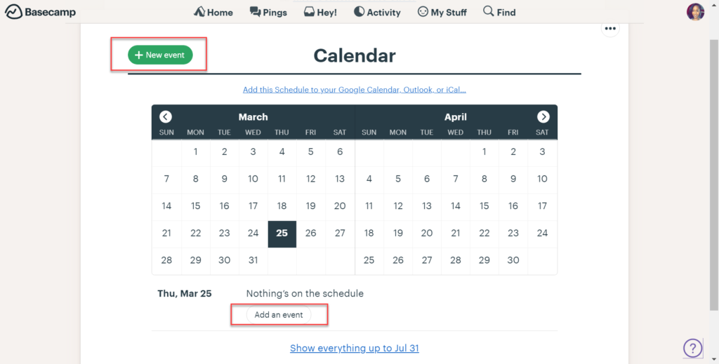 """To add new events to your calendar, simply click the """"Add an even""""t button below the date you'd like to add to or click the """"+ New event"""" button at the top of the calendar."""