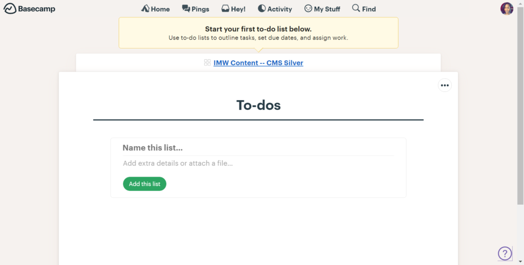 To-dos are the tasks within any given project. The to-dos section will show you any open and completed tasks around the completion of your web design project.