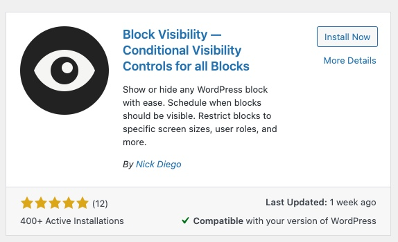 Block Visibility plugin as it appears in the WordPress Plugin Directory