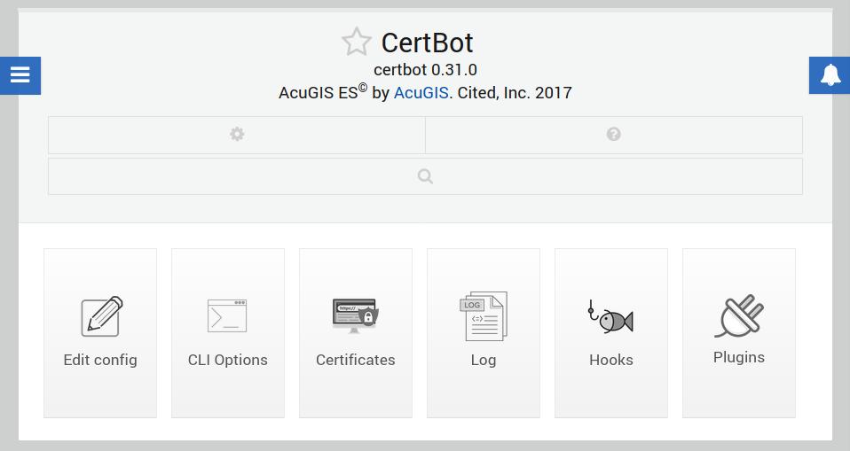 CertBot Webmin module settings