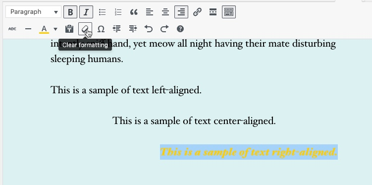 Classic Editor - Example of clear formatting.  Text shown with multiple formatting applied.