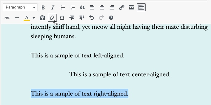 Classic Editor - Clear formatting example part 2 - formatting on text has been removed.
