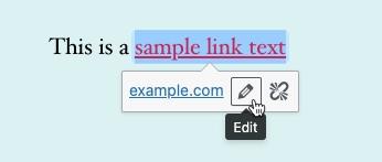 Classic Editor - sample link edit option
