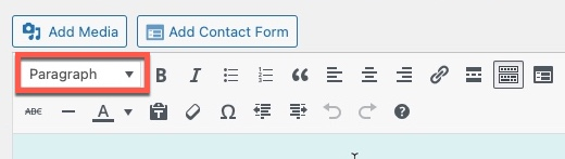 Text Style - defaults to paragraph.  It has a drop-down menu with several items.