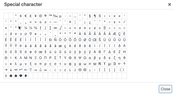 classic special character map