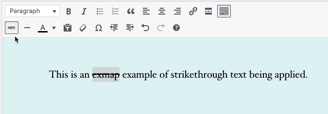 Classic Editor - strikethrough applied to text