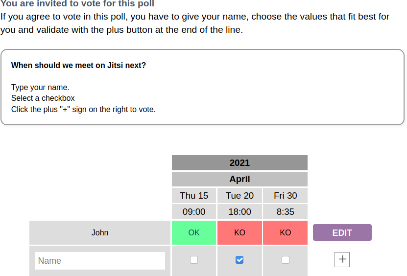 Dolibarr Date Poll Example
