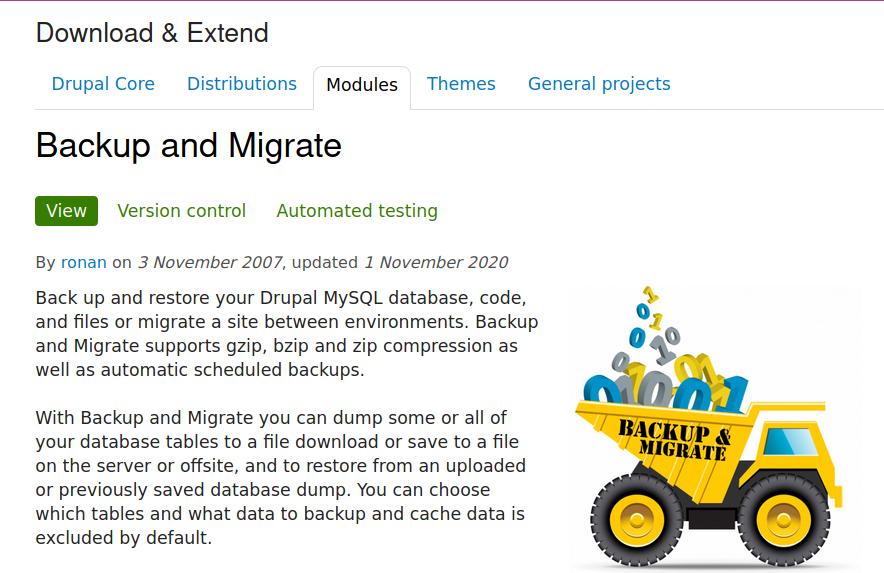 Drupal developer for Backup and Migrate module
