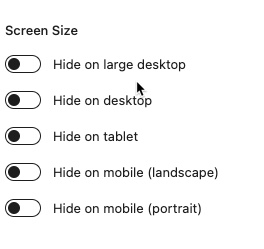 Change in controls with advanced screen size enabled