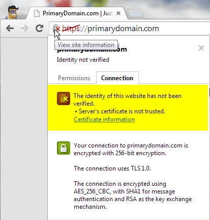 Self Signed SSL Info Example