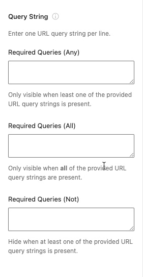 Query string fields in the block editor