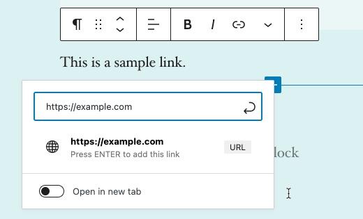 Visual Editor - Insert link