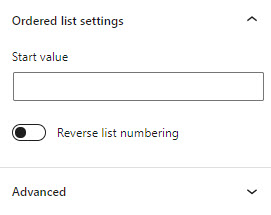 Visual Editor - numbering options in Block properties