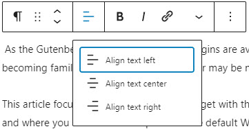 Visual Editor - paragraph text align